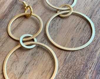 Double loop earrings//gold plated dangle hoops