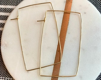 Rectangle hoop earrings/hammered gold wire/thin square hoop