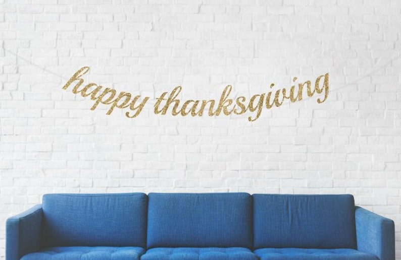 Happy Thanksgiving Banner Thanksgiving Banner Gold Thanksgiving Banner Gold Glitter Banner Holiday Banner Friendsgiving Banner