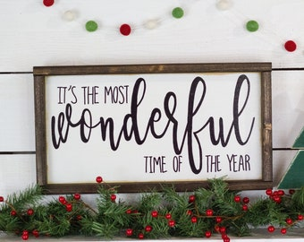 its the most wonderful time of the year, Holiday Decor,  Christmas Wood Sign