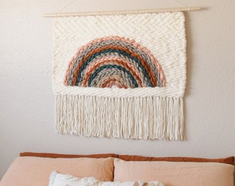 Rainbow Woven Wall Hanging - Choose-Your-Own-Dimensions | Headboard Rainbow Fiber Art | Large Boho Wall Decor | Made To Order