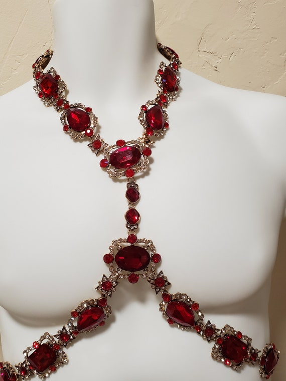 Ruby Red Crystal Rhinestone Body Harness Necklace… - image 8