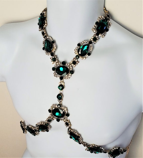 Emerald Green Crystal Rhinestone Body Harness Neck