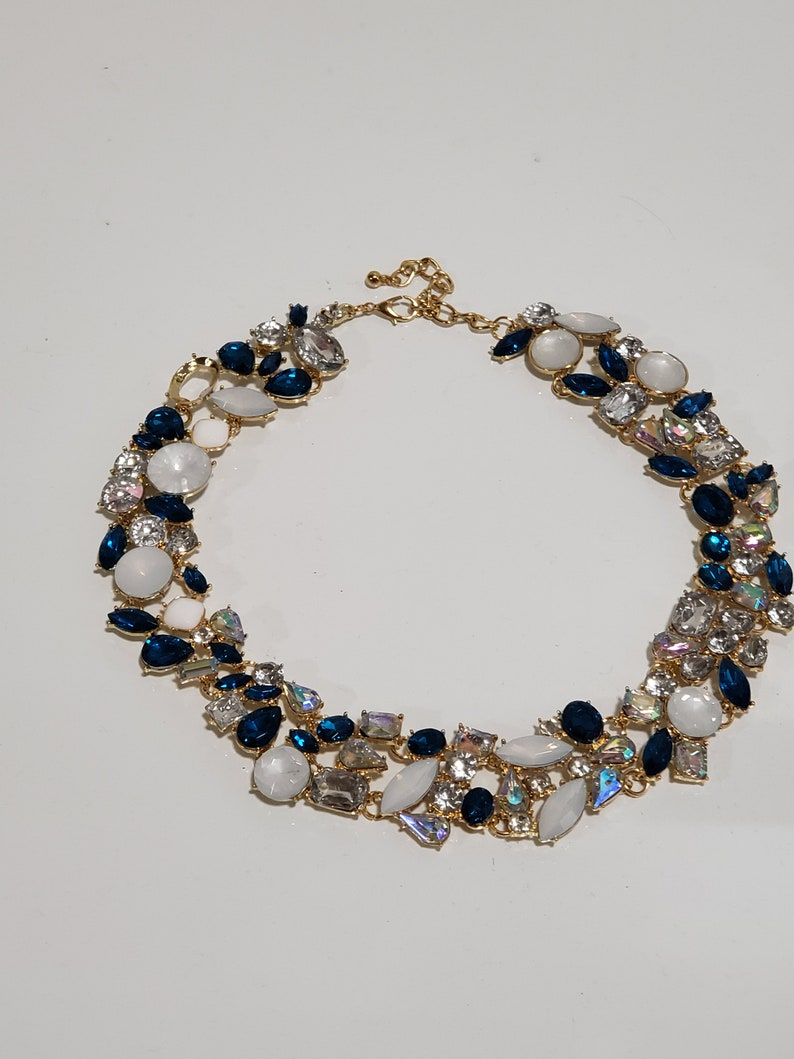 Blue and Pearl and Clear Crystal With Ab and Opal accents  Necklace Costume Jewelry