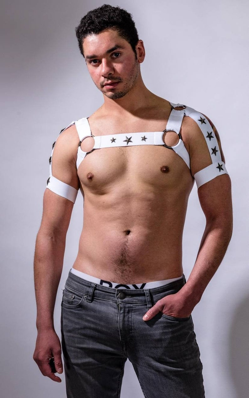 Men/'s White Elastic Chest Harness with built in Arm Band Strap Burlesque Costume