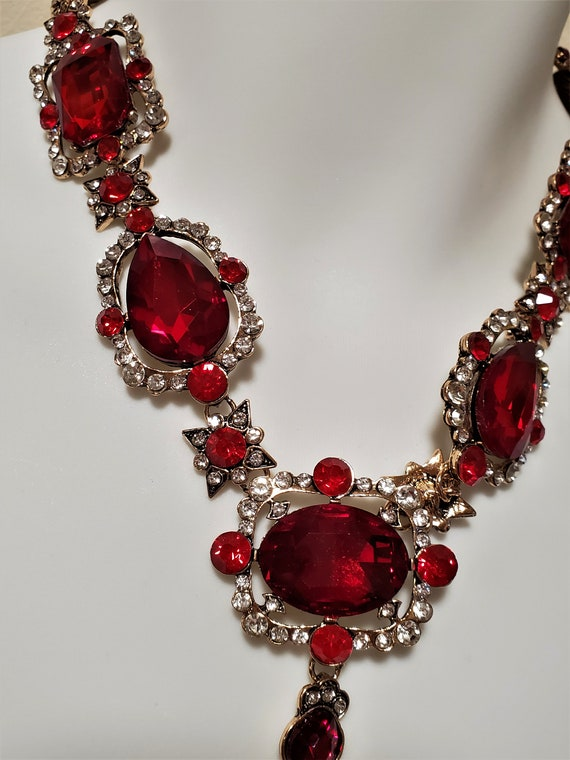 Ruby Red Crystal Rhinestone Body Harness Necklace… - image 5