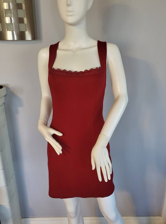 Vintage Clueless 90s Style Red bodycon dress