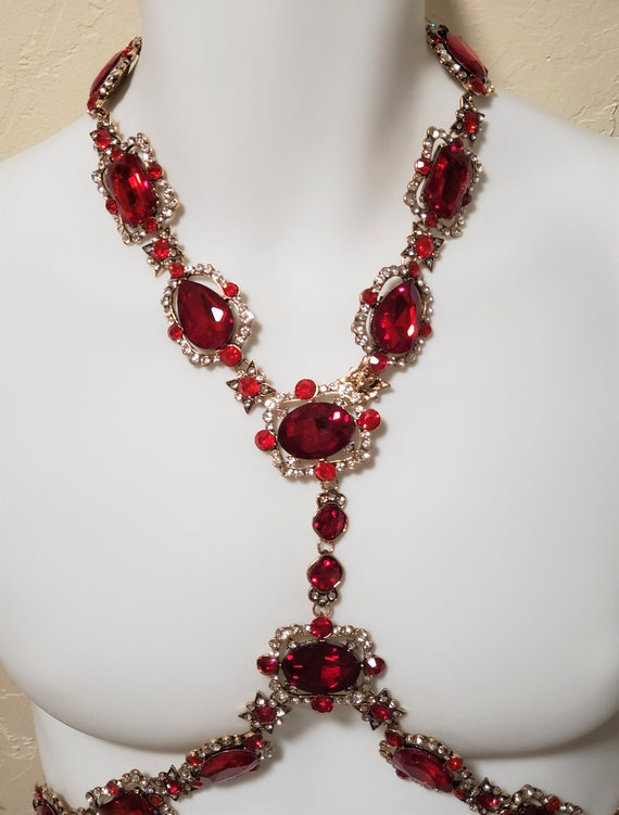 Ruby Red Crystal Rhinestone Body Harness Necklace… - image 10