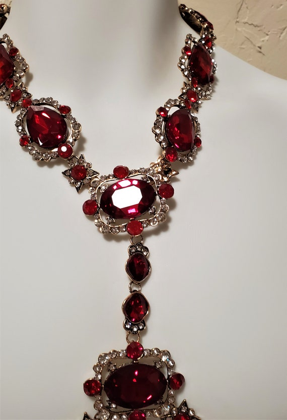 Ruby Red Crystal Rhinestone Body Harness Necklace… - image 4