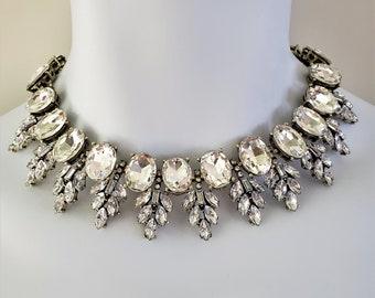 Duchess Crystal Diamond Rhinestone Bib Royal Statement Necklace Costume Jewelry