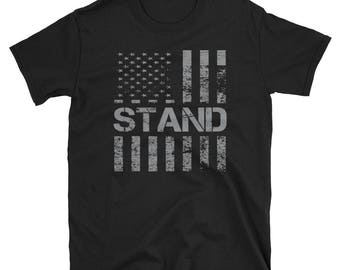 249543905 Stand for the Flag Shirt   I Stand for the National Anthem   Patriotic Flag  Shirt   Distressed American Flag   Military T-Shirt