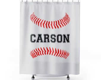 Baseball Bathroom Shower Curtain Personalized Kids Sports Curtains