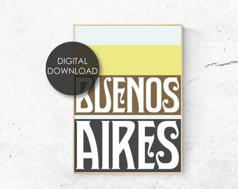 Buenos Aires Poster / Argentina / Art Deco / Typography / Cities / Instant Art / City Print / South America / Latin / Retro / Vintage