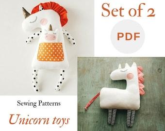 PDF unicorn pattern Unicorn gift Easy unicorn sewing Unicorn birthday PDF Beginner sewing Stuffed Animal Pattern Set of 2 sewind pattern