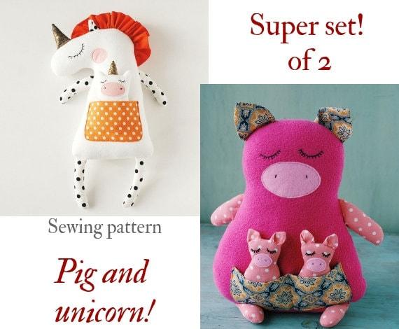 Stuffed Animal Sewing Pattern Pdf Unicorn Easy Tutorial Stuff Etsy