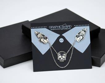 Deathhead Moth Collar Pins - Enamel Pins
