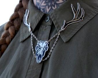 Deer Skull Collar Pin