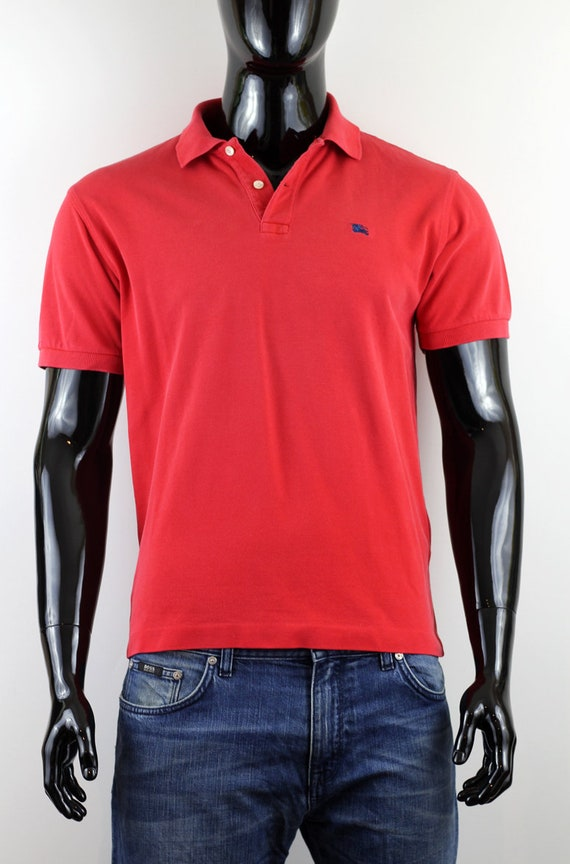 mens red burberry polo