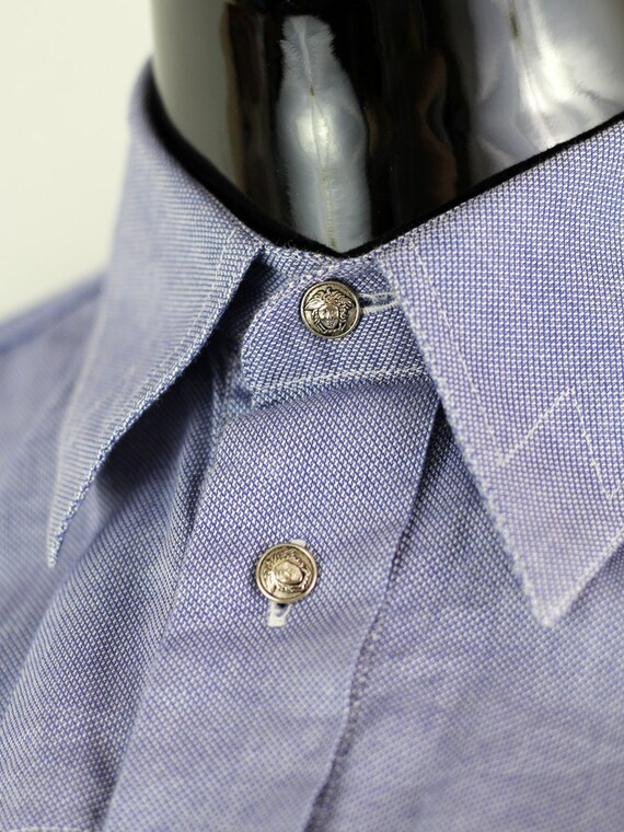 Versace Men's Blue Vintage 1990's Medusa Head Shir