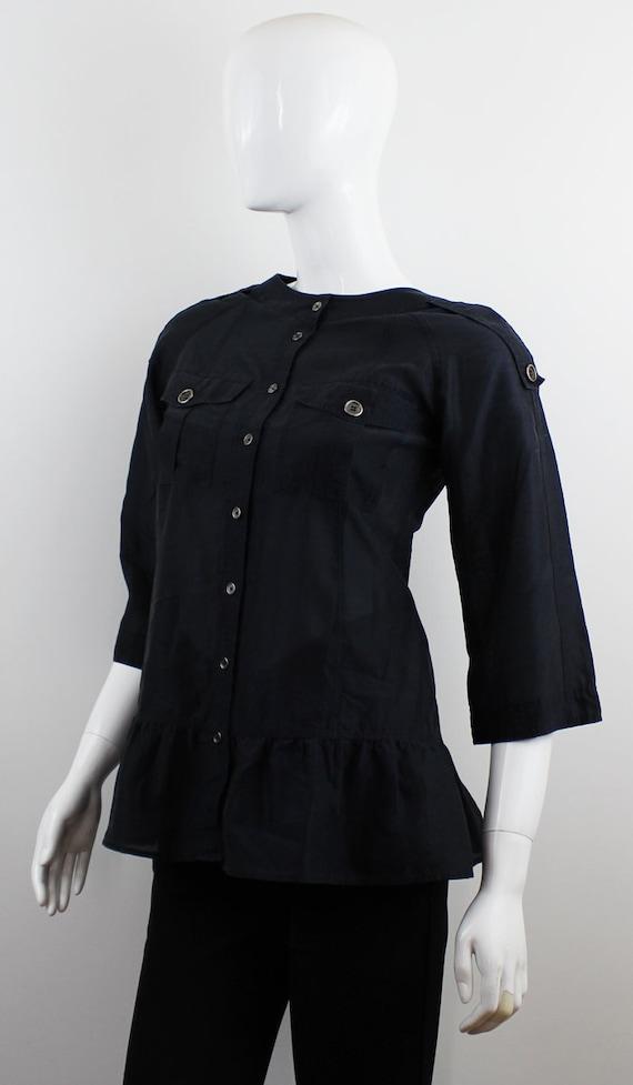 Burberry Women s Blue Silk Blouse Top  0062a4c71