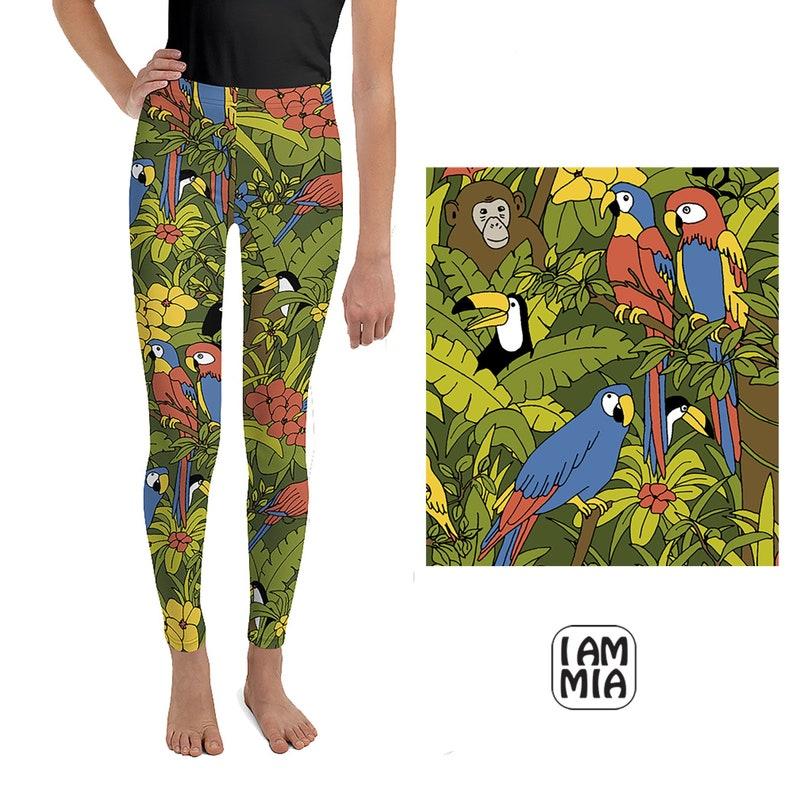 1ac3b8fd9679e Parrot toucan and monkey print jungle leggings girls tights | Etsy