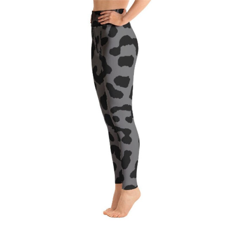 955e6ad368080 Gray Leopard Print Yoga Leggings Grey Printed leggings | Etsy