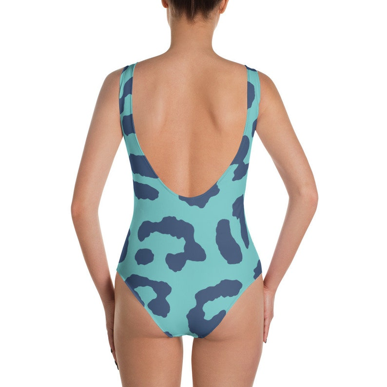 54f9a5ad7351d Leopard Print one piece swimsuit in turquoise and blue Beach | Etsy