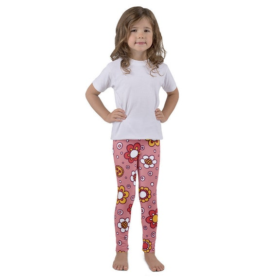 dd45ce01a5542 Pink Flower Print Girls leggings Printed tights Sizes 2-7 | Etsy