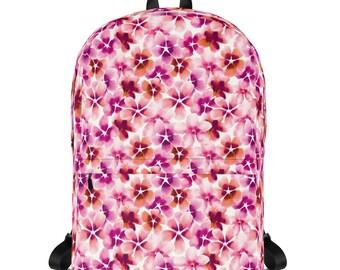 Pink Flower Print Backpack, School bag, Canvas Backpack, Laptop backpack, Floral Rucksack, sports bag