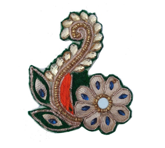 Decorative Beaded Royal Appliques Leaf Shape Appliques Craft Sewing By The Pair