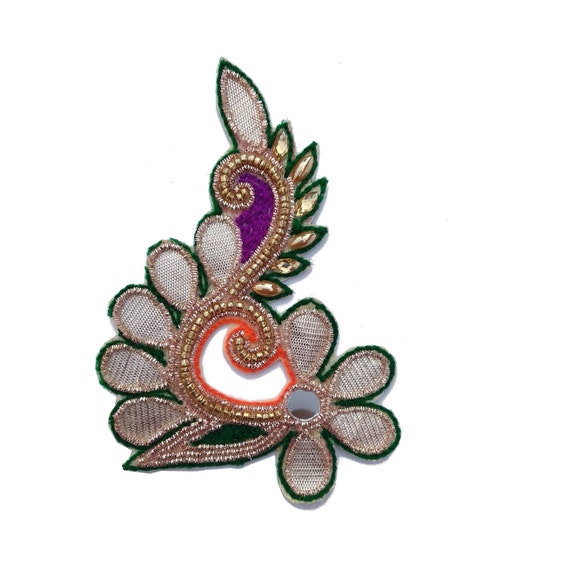 Round Shape Purple Beaded Appliques Shape Dress Fabric Patch India 22 Pcs
