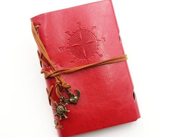 """Notebook A6 """"Explorer"""" kraft, red faux leather leaves"""