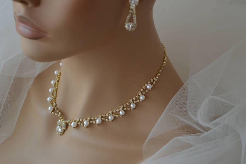 Bridal Jewellery Set,Pearl Jewelry Set,Gold Necklace,Gold Earrings,Wedding Jewelry Set,Bridal Earrings,Bridal Necklace,Personalized Gift !