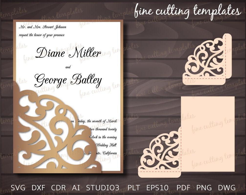 wedding invitation 5x7 pocket envelope template for. Black Bedroom Furniture Sets. Home Design Ideas