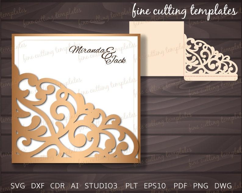 laser cut Wedding Invitation Pocket Envelope template for cutting Digital Instant Download, patterned corner svg, dxf, eps10, studio3