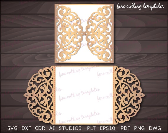 Wedding Invitation Gate Card Template For Cutting Laser And Die Cut Digital Instant Download Svg Dxf Eps10 Studio3