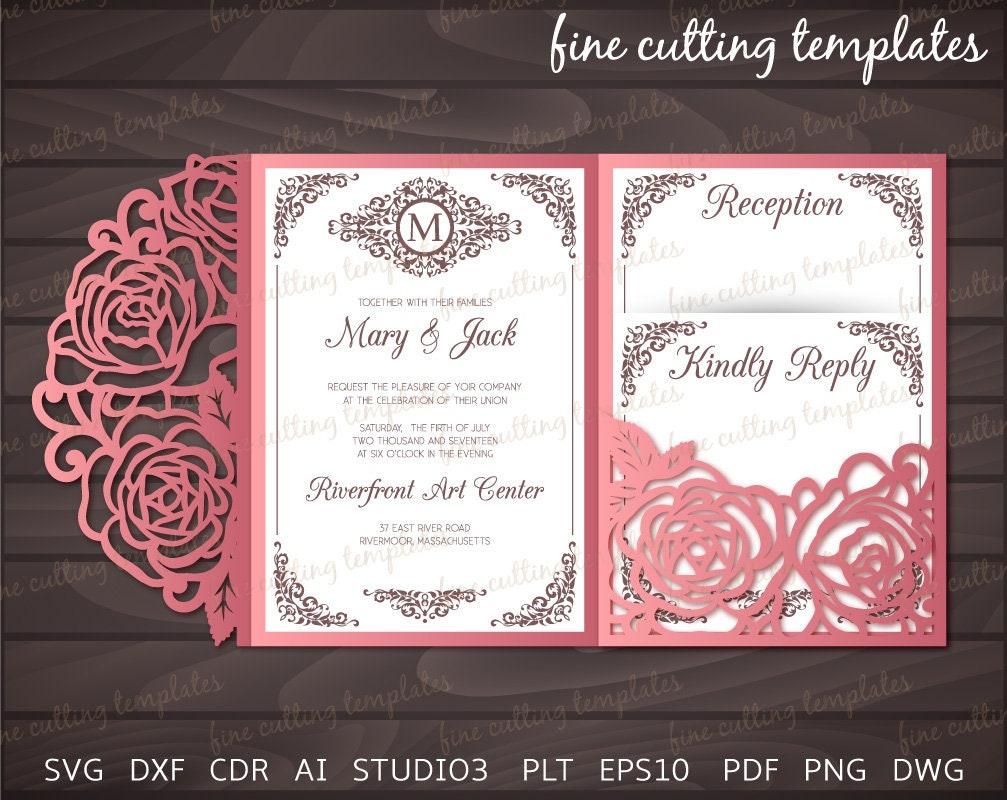 tri fold pocket envelope cutting template 5x7 wedding etsy. Black Bedroom Furniture Sets. Home Design Ideas