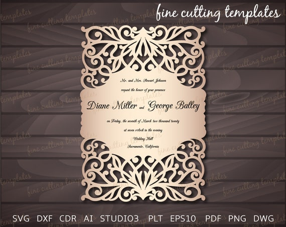 Wedding Invitation Card Cutting Template 5x7 With Lace Pattern Digital Instant Download Cricut Cameo Cutting Files Svg Dxf Studio3