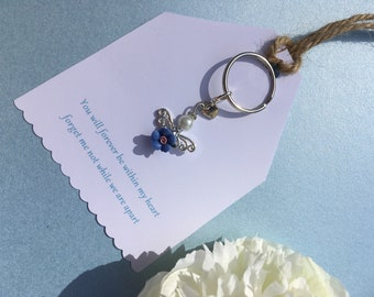 k154 Pouch Hearty Personalised Engraved Masonic Forget Me Not Flower Key Ring