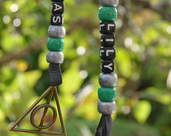 Harry Potter SLYTHERIN Deathly Hallows Personalised Name Keyring Keychain Gift