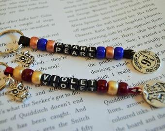 Harry Potter Gryffindor, Ravenclaw, Slytherin, Hufflepuff keychain, Hogwarts Platform 9 3/4 Personalised Name Keyring