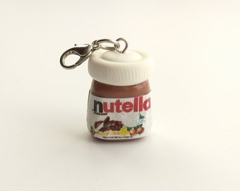 Nutella charm Nutella jar jewelry Cute keychains Baker gift Food charms Nutella lover Key charm Embellishments Colorful charm Bag charm kids