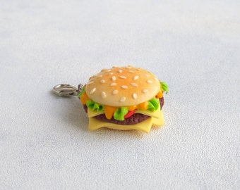 Hamburger Charm keychain Burger charm Burger pendant Food charm Miniature food Foodie gift Inedible jewelry Burger accessory Fake food gift