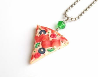 Pizza necklace Pizza slice jewelry Italian food party Baker gift Pizza party Miniature food Fake food gift Food jewelry Pizza charm pendant
