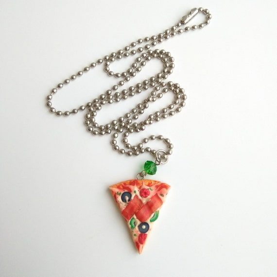 Miniature food polymer clay jewelry Italian food party Pizza slice necklace