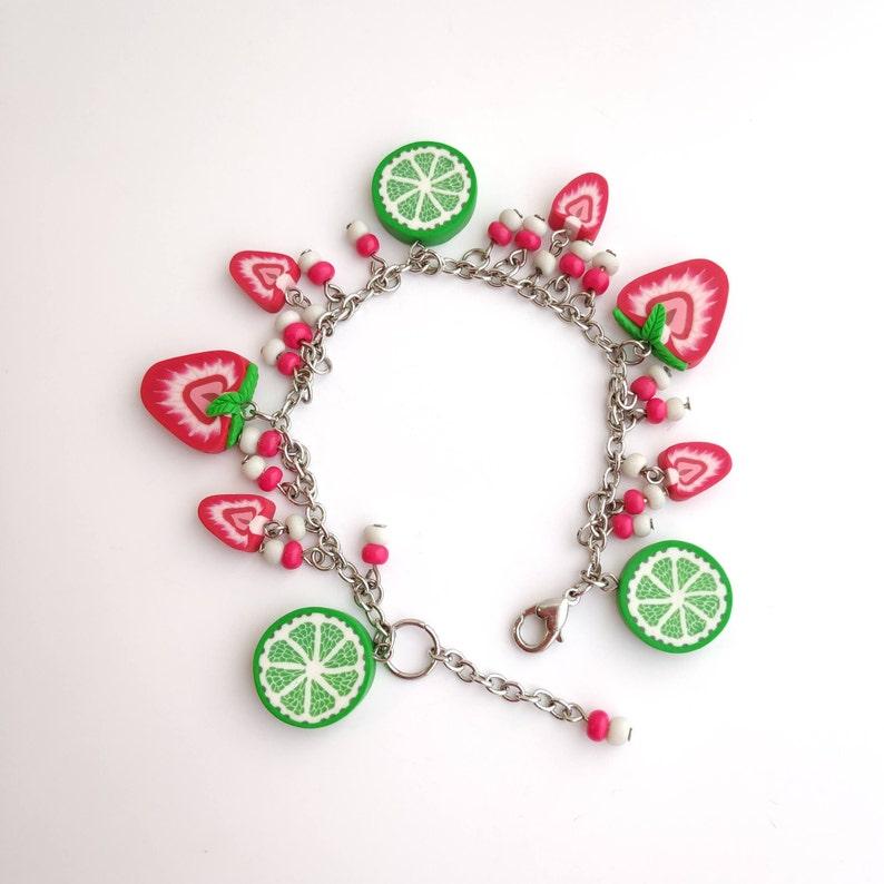 Strawberry bracelet Red Green Summer bracelet Strawberry Lime Charm bracelet Tropical jewelry Food jewelry Strawberry jewelry