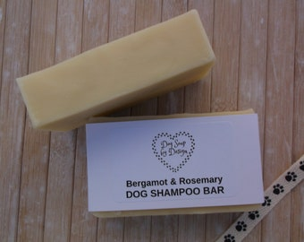 100% Natural Bergamot & Rosemary Dog Shampoo Bar - Palm Oil free - Artificial Fragrance free - Soap for Dogs 105g+