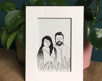 Custom drawn portrait, custom couple illustration, family portrait, custom illustration gift.
