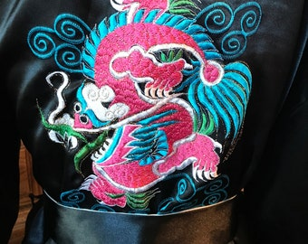 Vintage Reversible Silk Robe with Dragon Embroidery
