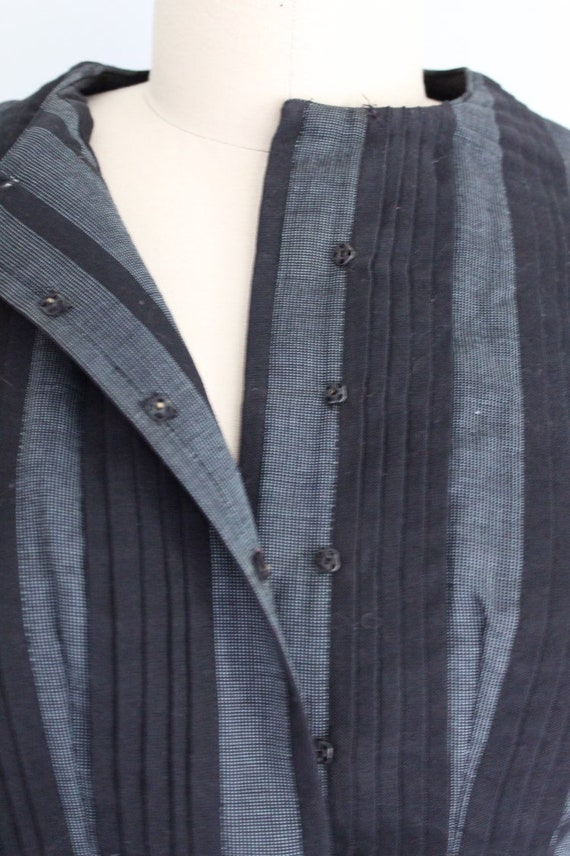 Vintage 1950s gray and black striped twead swing … - image 5